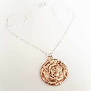 Bronze Silver Medallion Necklace