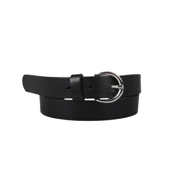 Rounded Buckle Leather Belt
