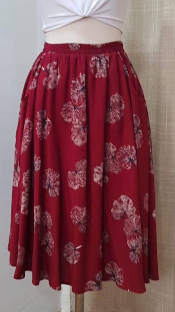 Burgundy Leaf skirt