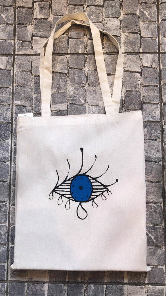 Hand drawing Eye tote bag
