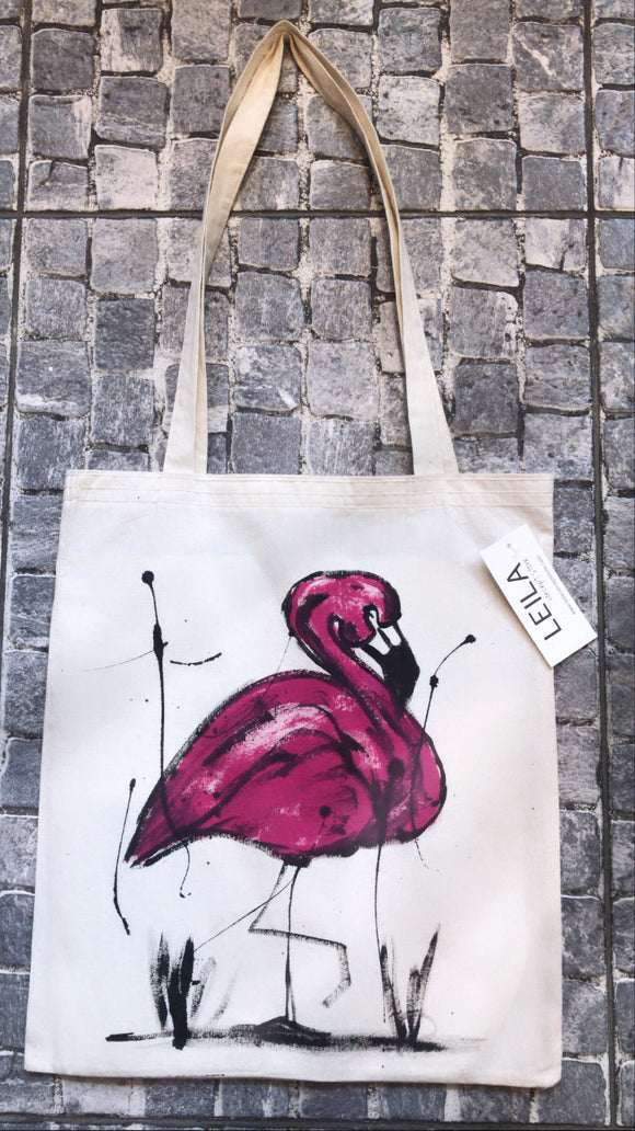 El Çizimi Flamingo Çanta/Hand drawing flamingo bag