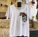 Hand drawing leopard t-shirt