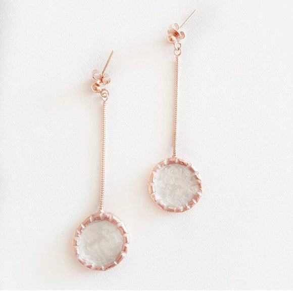 Silver rose gold plated enamel earring