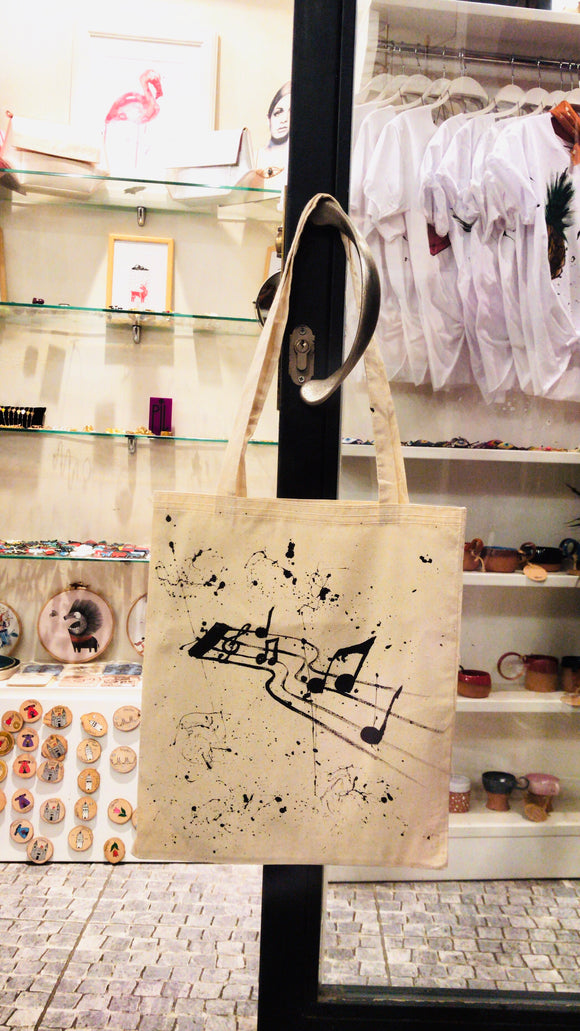 El Çizimi Müzik Notası Bez Çanta/Hand drawing bag with music note