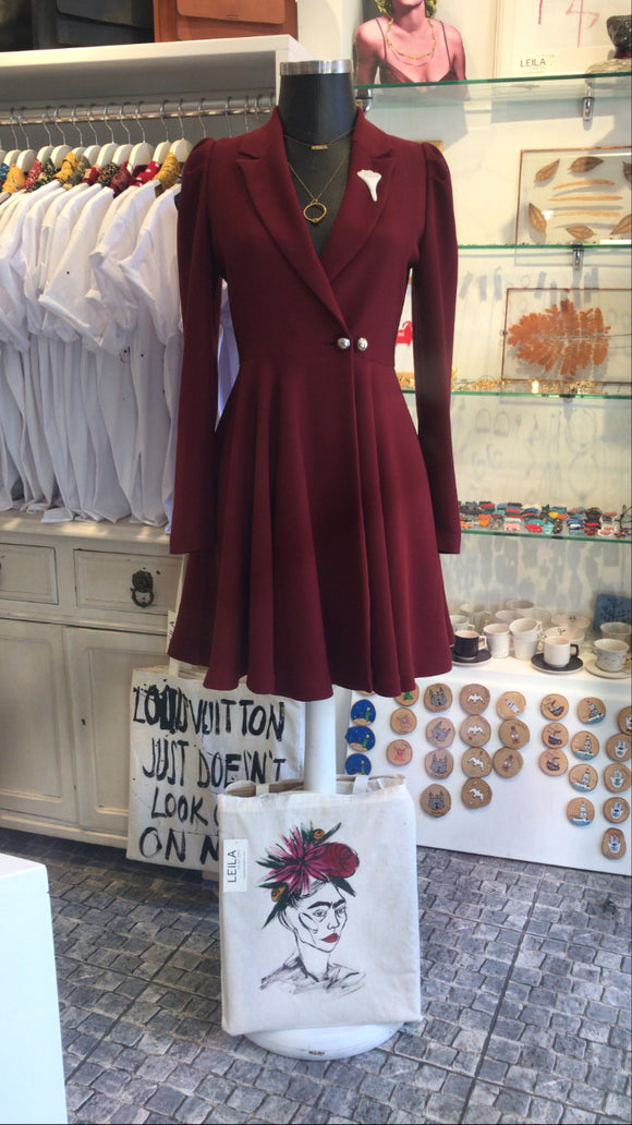 Burgundy jacket dress