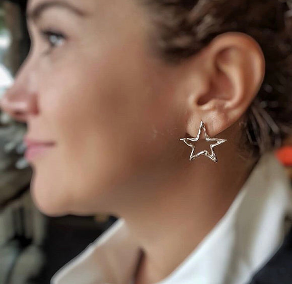 Handmade Silver Star Earrings
