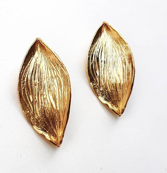 Gold Plated Bronze Leaf Earrings