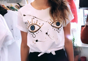 Hand drawing eyes t-shirt