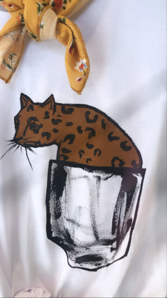 Hand Drawing T-shirt /Leopard
