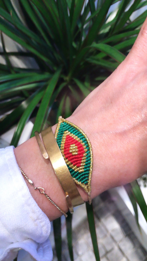 Göz bileklik/Green and red eye bracelet