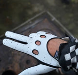 Leather Glove  black White
