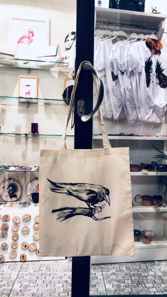 Hand drawing crow cloth bag
