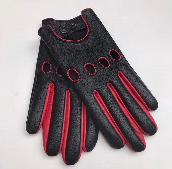 Leather Glove  Black/Red