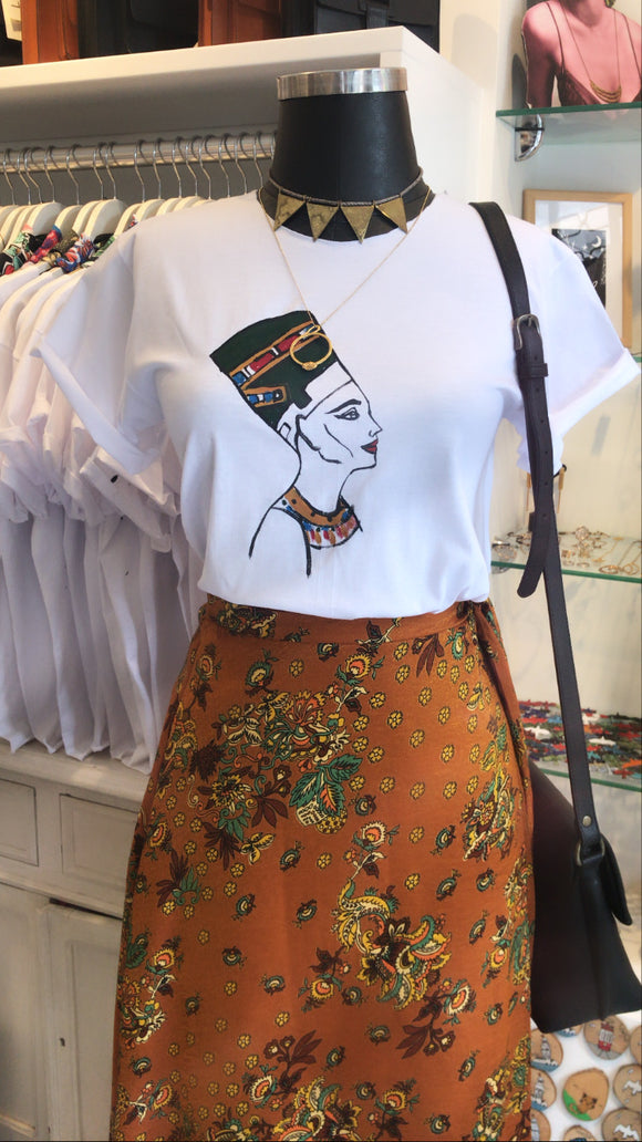 hand drawing Nefertiti t-shirt