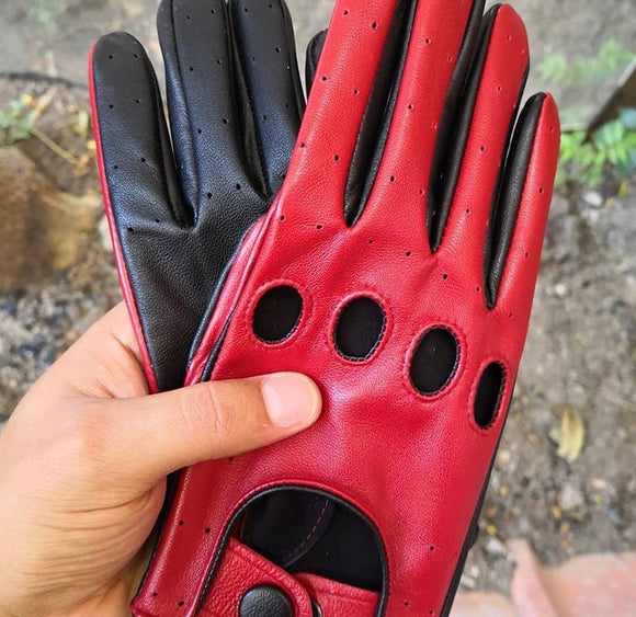 Leather Glove Red / Black