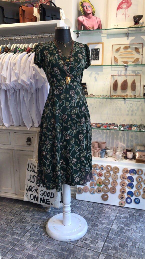 Adjustable Green Floral Dress