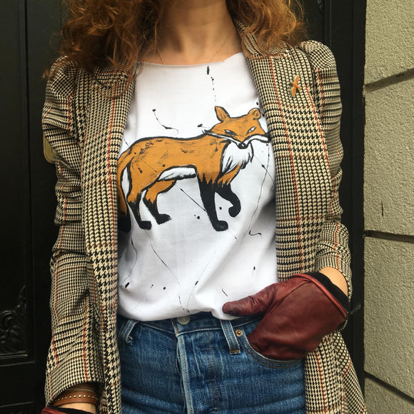 El Çizimi Tilki Tişört /Hand-drawn fox t-shirt