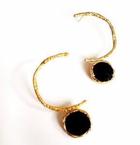 Altın kaplama Bronz mineli kanca Küpe/Gold plated Bronze S enamel hook Earrings