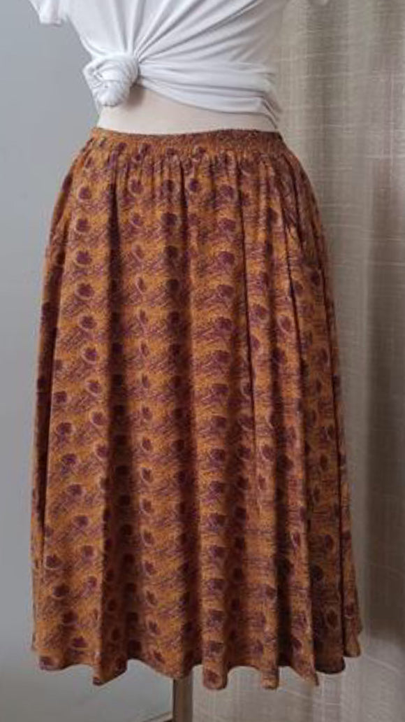 Mustard and brown skirt
