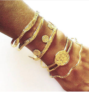 Gold Plated Bronze Thick Bracelet