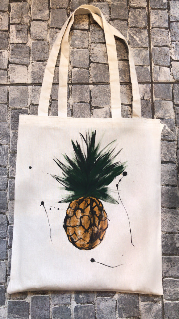 El Çizimi Çanta/Hand drawn Pineapple Cloth Bağ