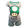 NINTENDO Super Mario Bros. Green 1-UP Mushroom Shortama Nightwear Set, Female, Extra Large, Grey/Green (ZI060301NTN-XL)