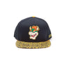 NINTENDO Super Mario Bros. Bowser Rubber Patch Snapback Baseball Cap with Animal Print Brim, Orange/Black (SB097522NTN)