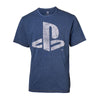 SONY Playstation Logo Faux Denim T-Shirt, Male, Small, Blue (TS551122SNY-S)