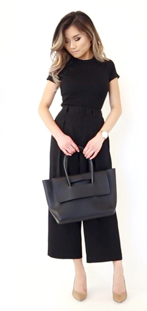 Black Top with matching Midi Flared Pants