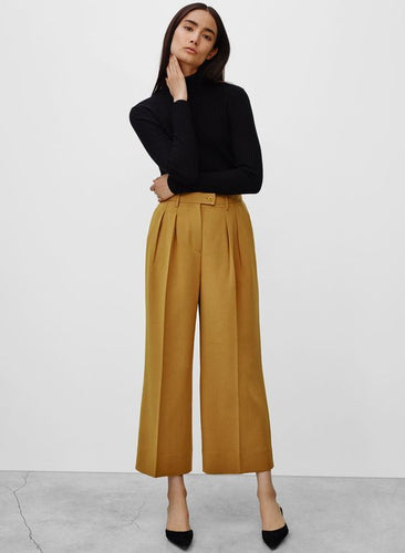 Black Top with Mustard Trousers
