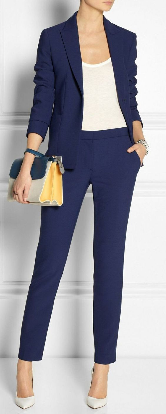 Navy Blazer with Matching Trousers and white shirt