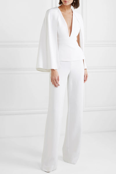 Cape Effect Stretch Crepe Jumpsuit