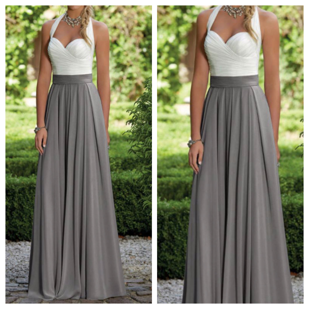 White and Grey Sweetheart Neckline Maxi Dress