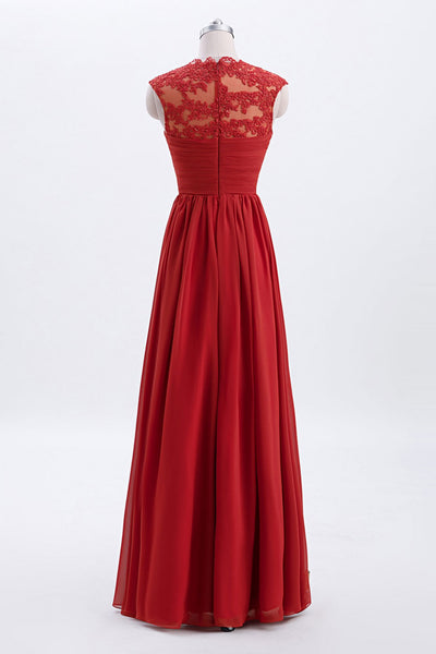 Rust Modest Cap Sleeves Chiffon Long Bridesmaid Dress with Lace Back