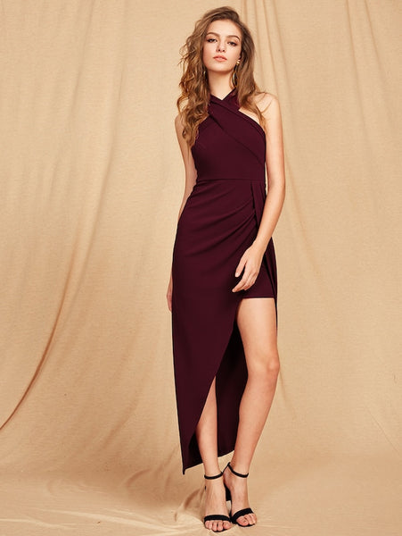 Cross Neck Maroon Asymmetrical Dress