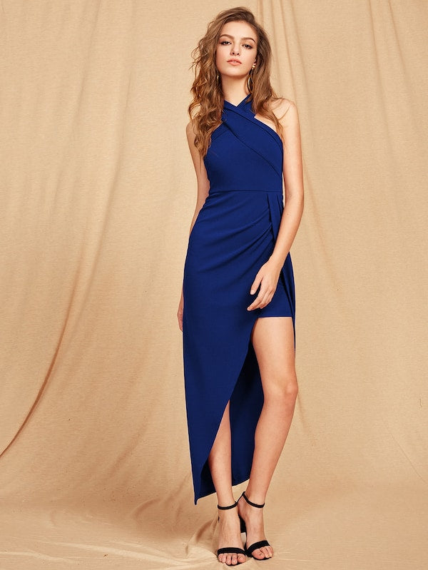 Royal Blue Cross Neck Asymmetrical Dress