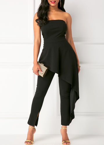 High Waist Ruffle Overlay Strapless Black Jumpsuit-14