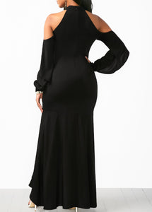 Cold Shoulder Black Asymmetric Hem Dress