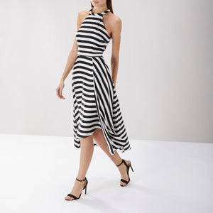 Zebra Striped Midi Dress