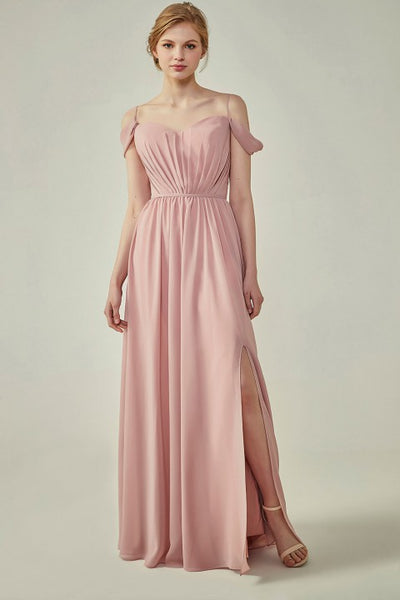 A-Line Cold Shoulder Spaghetti Straps Georgette Bridesmaid Dress with Side Slit