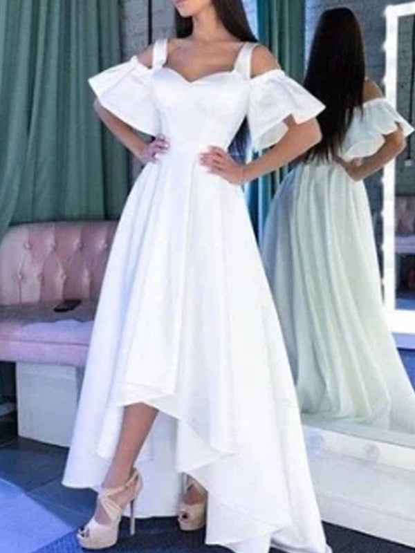 White Pleated Off Shoulder Short Sleeve High-low Elegant Maxi Dress