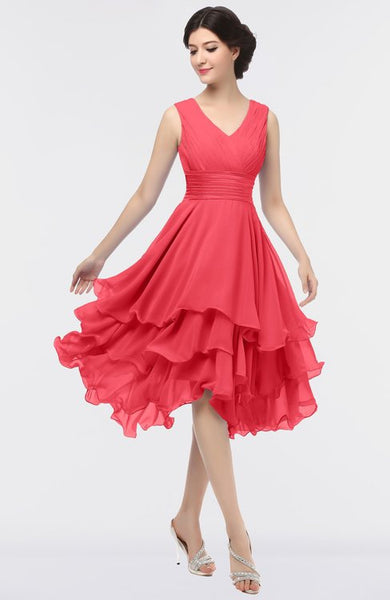 Red Elegant V-neck Sleeveless Zip up Ruching Dress
