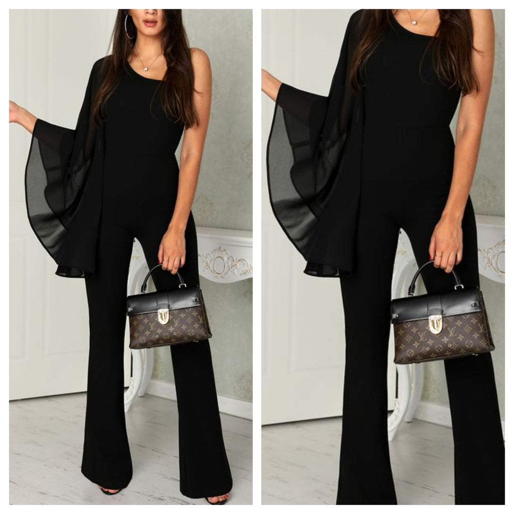 Black Bat Wing Flared Jumpsuit