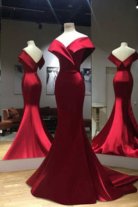 Gorgeous Red Off Shoulder Mermaid Evening Gowns,Sweep Train Red Prom Dress,Formal Dress
