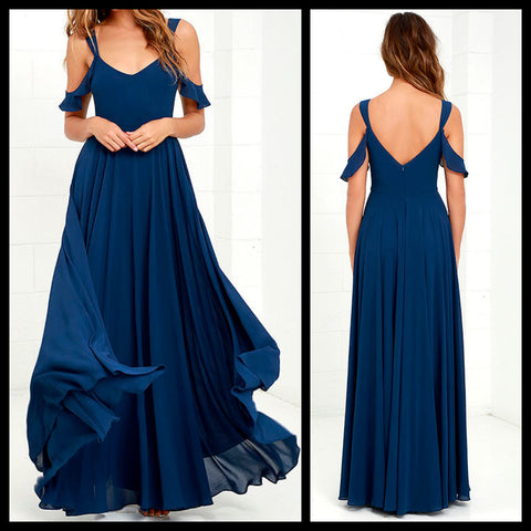 Cold Shoulder Ocean Blue Maxi Dress