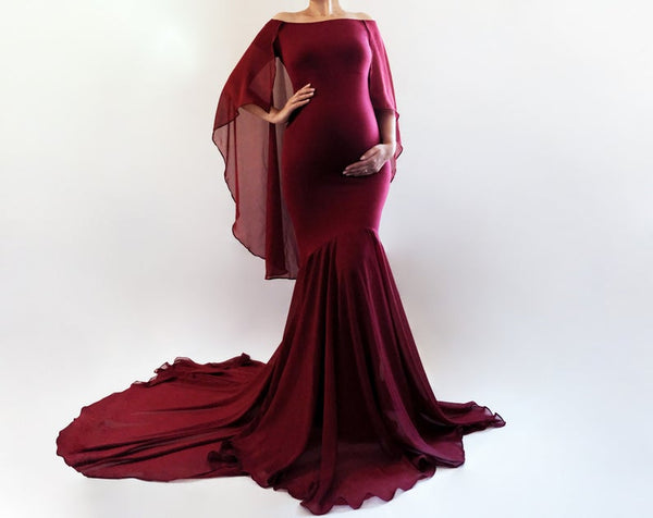 GLORIA Maternity Dress Fitted Maxi Dress with Cape