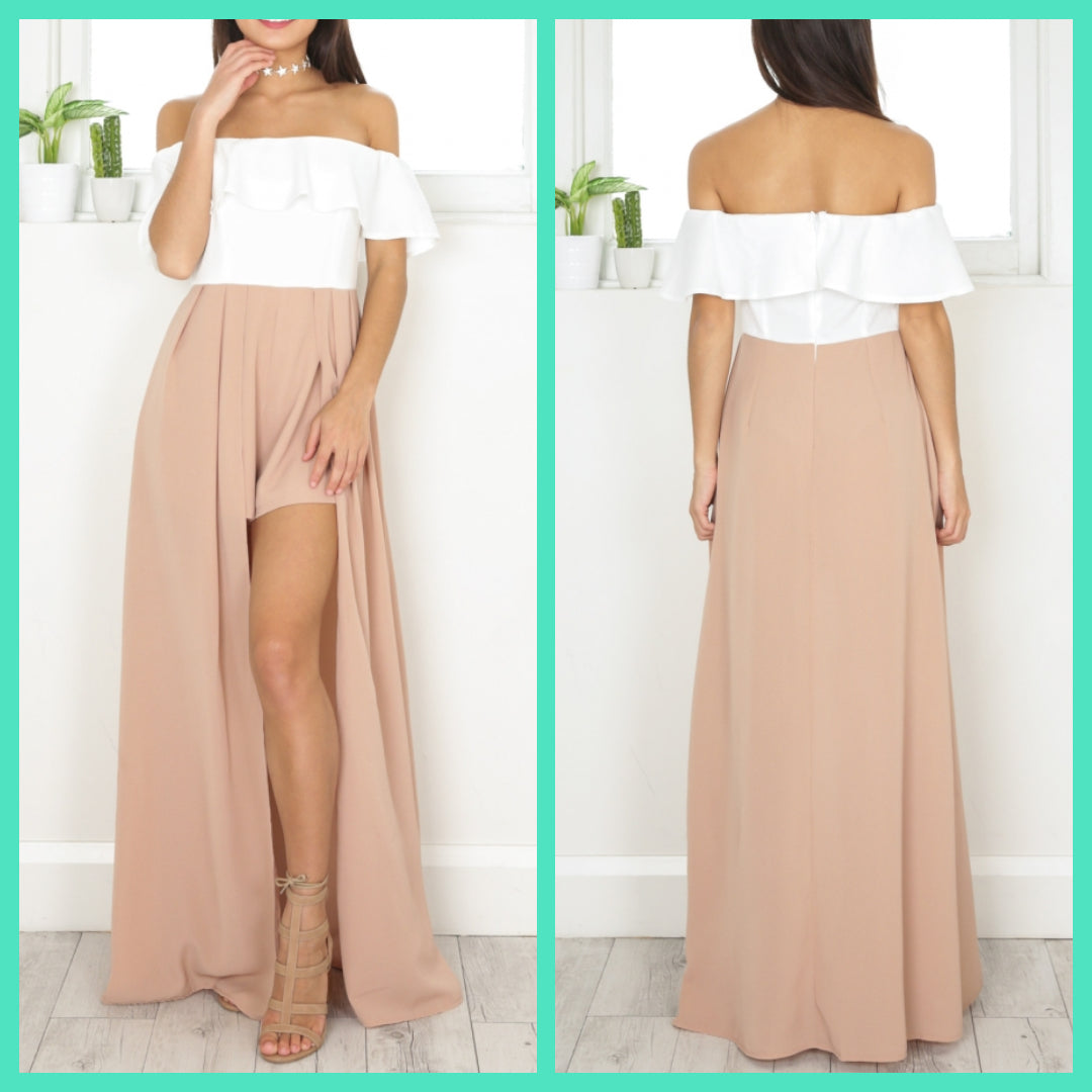 White And Beige Off Shoulder Dress With slit