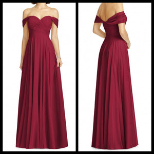 Off Shoulder Maroon Splendour Maxi Dress