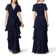 Navy Blue Multiple Layered Ruffles Maxi Dress