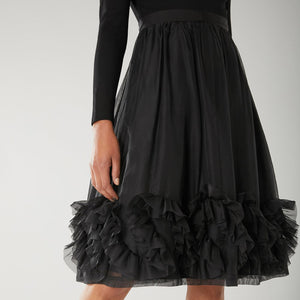 Black Ruffle Bottom Skater Dress